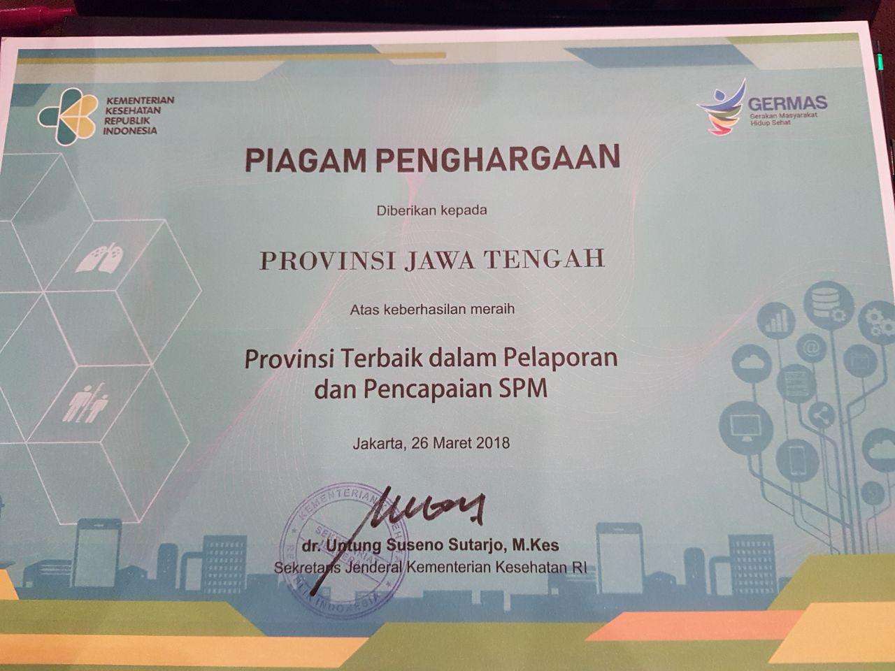 Provinsi Jawa Tengah Provinsi Terbaik Dalam Pelaporan dan Pencapaian SPM